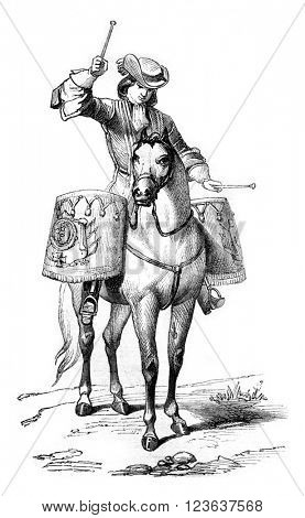 Timpanist Maine regiment in 1676, vintage engraved illustration. Magasin Pittoresque 1869.