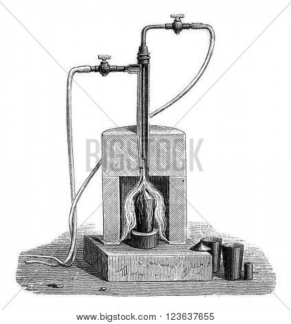 Torch oxy-hydrogen gas, vintage engraved illustration. Magasin Pittoresque 1869.