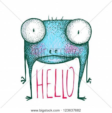 Strange cartoon creature, character alien comic fun, vector illustration