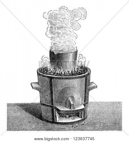 Alum calcined in a crucible, vintage engraved illustration. Magasin Pittoresque 1869.