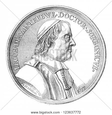 Jacques Sainte-Beuve, medal Bertinet, Cabinet of medals of the Imperial Library, vintage engraved illustration. Magasin Pittoresque 1869.