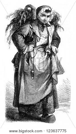 Merchant of oysters, vintage engraved illustration. Magasin Pittoresque 1869.