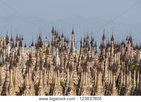 Kakku pagodas are nearly 2500 beautiful stone stupas hidden in a remote area of Myanmar not very far from the lake Inle. This sacred place is on the territory of the PaO people. Shan state, Myanmar