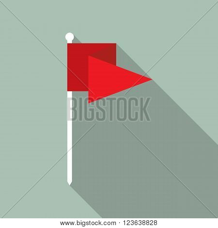 Flag vector icon flat design. Red flag icon in flat style with long shadow. Flag flat icon symbol. Flag vector icon flat design element. EPS10 vector illustration.