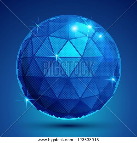 Dotted radiance plastic contemporary spherical object with flashes pixilated sparkle blue globe.