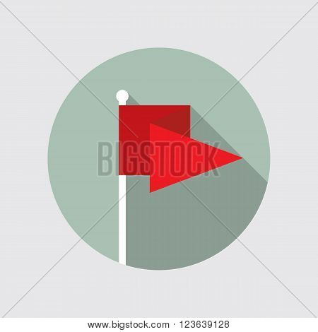 Flag pin vector icon flat design. Red flag pin icon in flat style with long shadow. Flag pin flat icon symbol. Flag pin vector icon flat design element. EPS10 vector illustration.