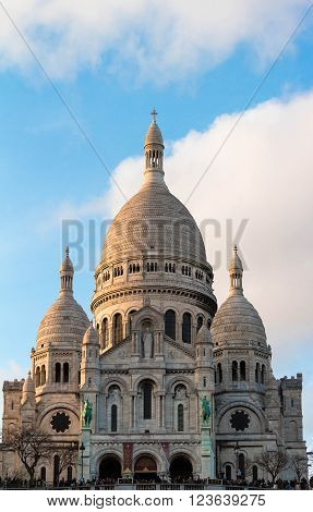 Paris France-March 27 2016 : The famous basilica Sacre Coeur is Roman catholic church located on the butte Montmartre the highest point in Paris.