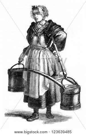 The Water Carrier, Cries of Paris in 1774, vintage engraved illustration. Magasin Pittoresque 1869.