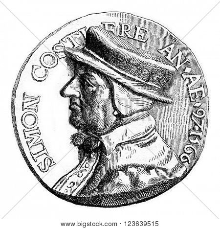 Bronze Medal of the Cabinet of medals of the Imperial Library, vintage engraved illustration. Magasin Pittoresque 1867.