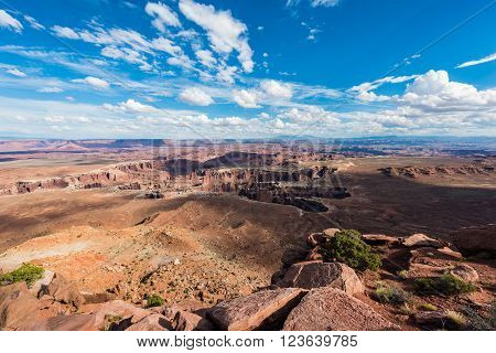 Island in the Sky mesa photographed during overcast day revealing beautiful colors  in Canyonlands National Park, Utah