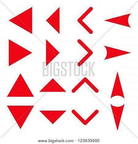 Arrowheads vector icon set. Collection style is red flat symbols on a white background.