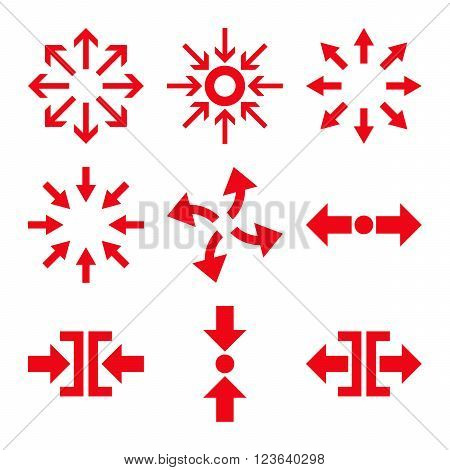 Compress and Explode Arrows vector icon set. Collection style is red flat symbols on a white background.