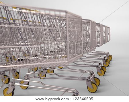 Rows of shopping carts on car park