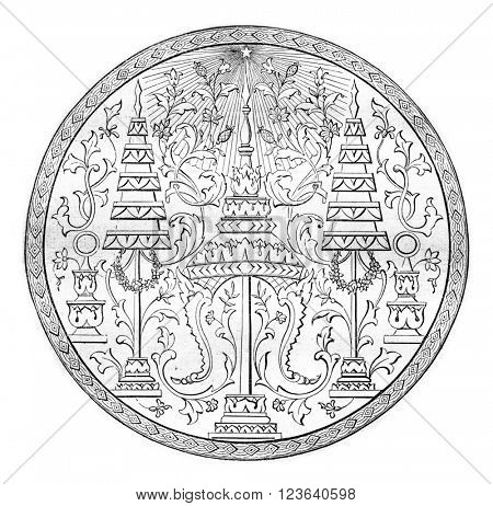Seal of the second king of Siam, vintage engraved illustration. Magasin Pittoresque 1857.