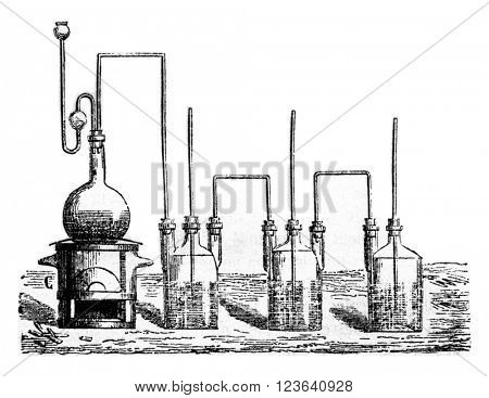 Preparation of a sulfur solution, vintage engraved illustration. Magasin Pittoresque 1857.