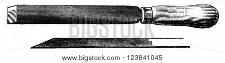 Bevel chisel, vintage engraved illustration. Magasin Pittoresque 1853.