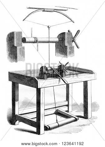 The lathe ends, vintage engraved illustration. Magasin Pittoresque 1853.