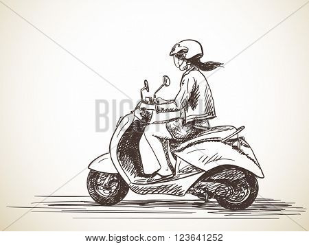 Sketch of woman riding scooter Hand drawn vector illustration