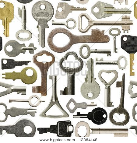 Collection of old keys isolated  seamless background