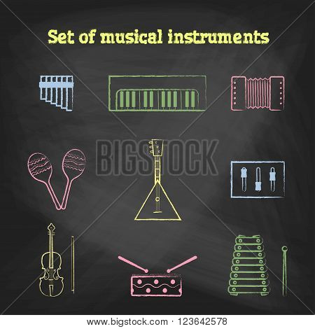 CHALK style icons set. Children's toys collection of vector icons. Outline vector drum, pipe, flute, piano, keys, maracas, harmonica and other musical instrument
