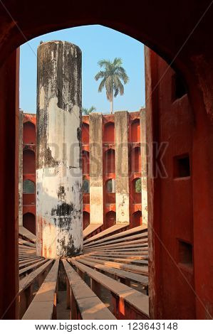 Architectural detail of the Jantar Mantar observatory in Delhi, India that was built in 1724