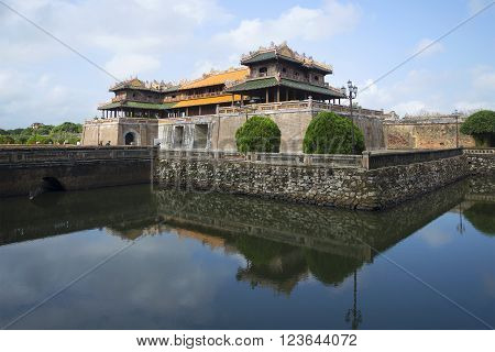 HUE, VIETNAM - JANUARY 08, 2016: The bastion Thanh Bastion with the main gate of the Imperial forbidden purple city. The historic landmark of the city of Hue, Vietnam