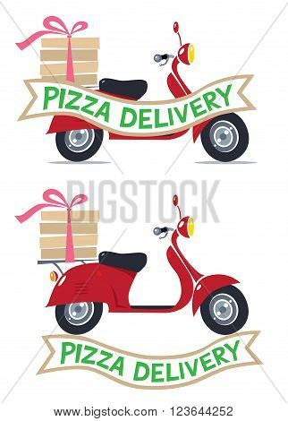 Pizza Delivery logo and Vector illustration of funny red scooter or motobike or moped with boxes of hot pizza, tied with rose ribbon