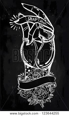 Hand drawn pop art flesh snapping fingers poster with ornate rose frame for your text. Rock and Roll hand sign. Vector illustration isolated. Tattoo design, retro, summer, print symbol for your use.