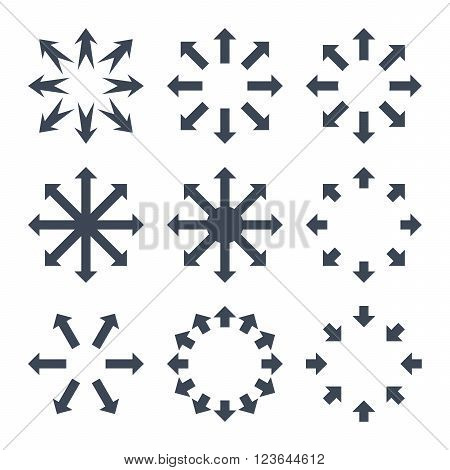 Maximize Arrows vector icon set. Collection style is smooth blue flat symbols on a white background.
