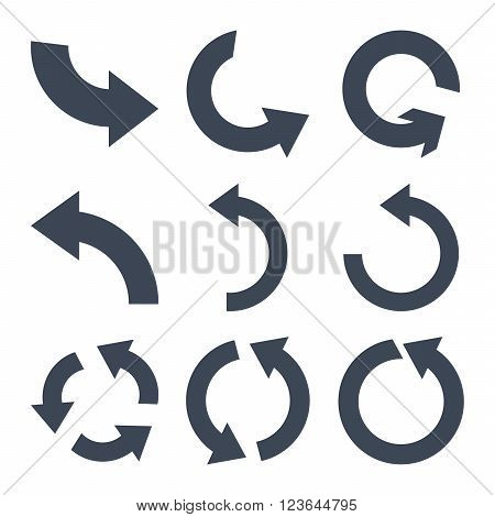 Rotate Counterclockwise vector icon set. Collection style is smooth blue flat symbols on a white background.