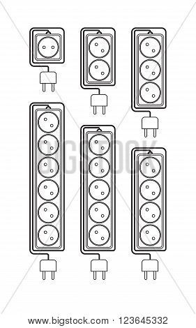 Collection electrical extension cords in a modern linear style. Electric surge protector icon electric extension cable icon electrical plug and electrical outlet. Schematic image. Vector