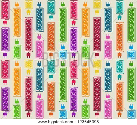 Seamless pattern of colored electrical extension cords. Electric power strip in modern flat style. Suitable for packaging design of electrical products website design advertising catalogs. Vector