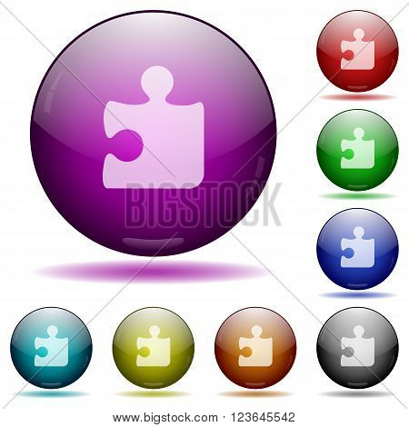 Set of color puzzle glass sphere buttons with shadows.