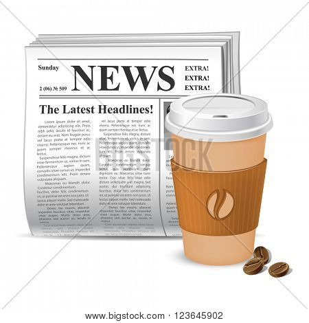 Coffee and news. Vector illustration. Newspaper and takeaway coffee.