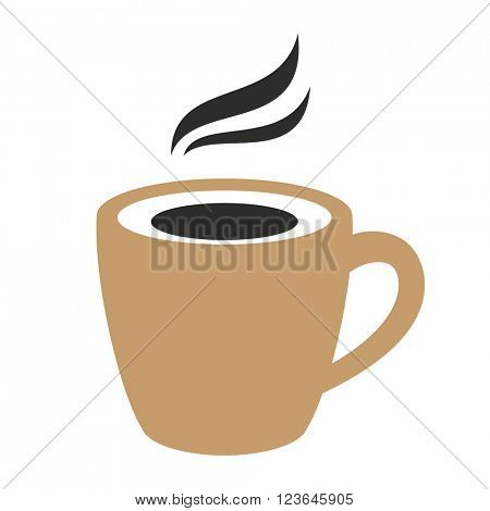 Classic black espresso coffee sign. Hot with steam. Vector illustration.