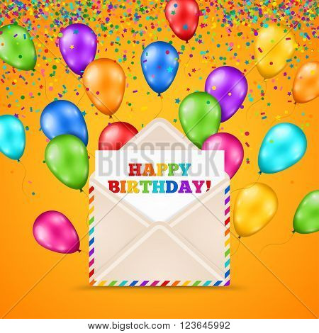 Happy Birthday Greeting Card Inside Envelope. Multicolored Glossy Flying Balloons. Vector illustration. Realistic Mail Envelope. Party Background with Colorful Ballons and Confetti.