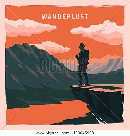 Web vector  illustration on the theme of Climbing, Trekking, Hiking, Walking. Sports, outdoor recreation, adventures in nature, vacation. Wanderlust. Downshifting. Retro flat poster