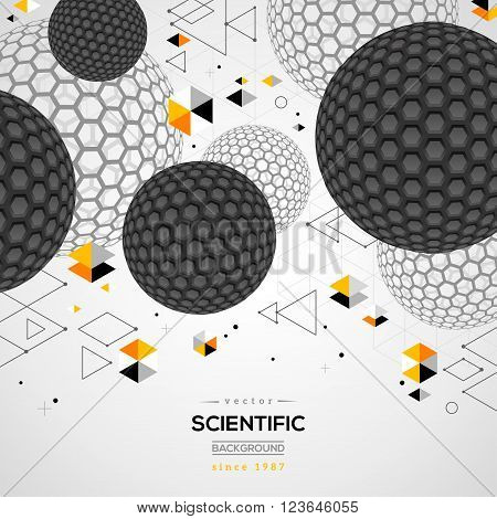 Abstract carbon particles. Vector illustration. Atoms. Molecular geometric technology concept background. Scientific future backdrop. 3D spheres, fullerene. Wireframe elements.