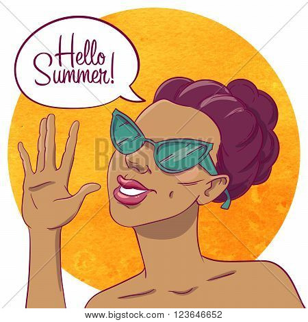 Hello summer. Portrait of a tanned girl in sunglasses. Girl waves a hand. Speech bubble.