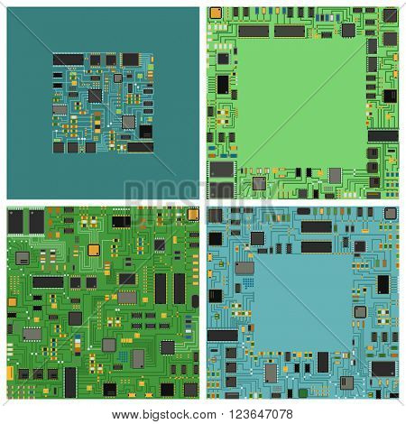 Computer chip electronic circuit board with processor flat vector illustration set.
