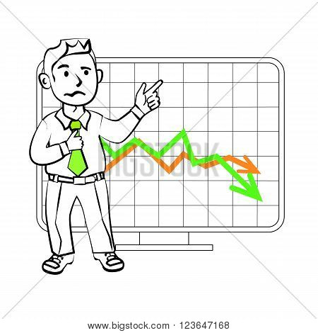 Experiencing emotional character of the trader. Design for a presentation showing the situation. Stock graph the decline in sales or reduction in the value of assets on the exchange.