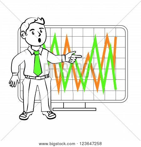 The graphics in the vector. Experiencing emotional character of the trader. Design for a presentation showing the situation. Stock graph sharp fluctuations in the value of assets on the exchange.