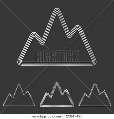 Silver line mountain symbol logo design set