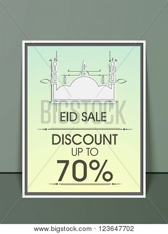 Eid Sale with 70% Discount, Elegant Pamphlet, Banner or Flyer design with illustration of Mosque for Islamic Festival celebration.