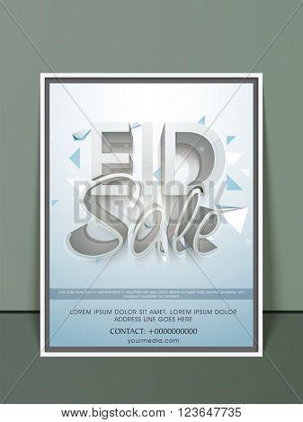 Stylish 3D text Eid Sale on shiny background, Elegant Pamphlet, Banner or Flyer design for Muslim Community Festival celebration.