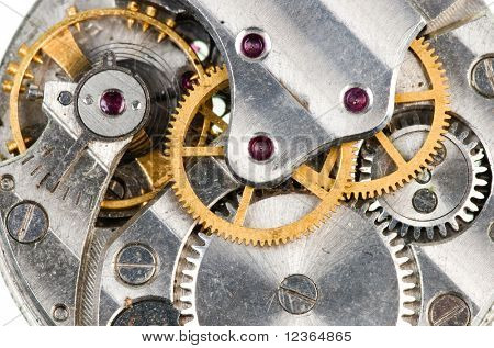 Detail of old wristwatch mechanism