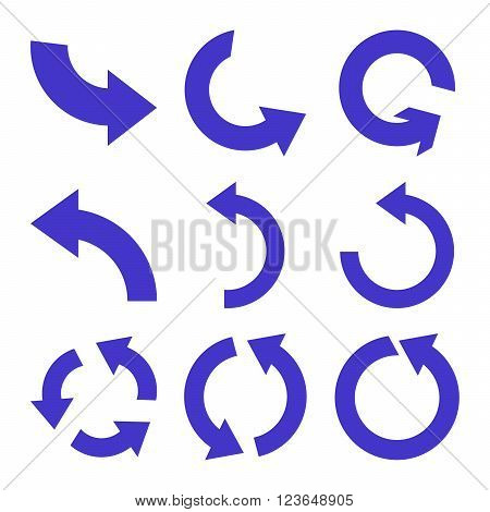 Rotate Counterclockwise vector icon set. Collection style is violet flat symbols on a white background.