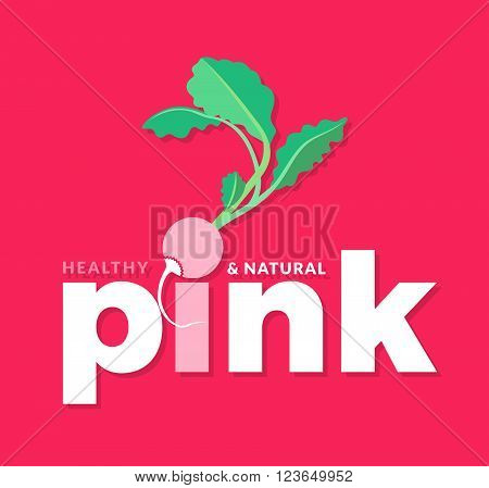 White and green logo with word Pink, healthy and natural, design elements radish at a pink background. Design template for vegetarian restaurant, cafe and grocery. Vector Illustration
