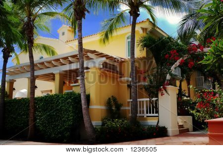 Typical Tropical House, Puerto Rico, Usa.