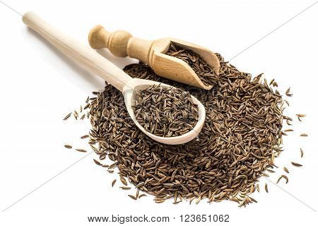Dry cumin seeds in wooden spoon and scoop on a white background